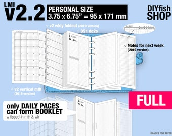 Full [PERSONAL v2.2 w DS1 do2p] July 2018 to June 2019- Filofax Inserts Refills Printable Binder Planner Midori.