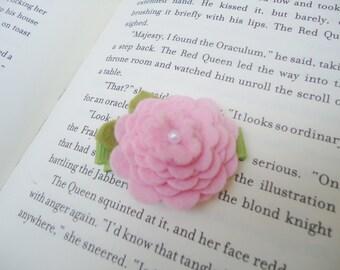 Pink Felt Flower Blossom Hair Clip