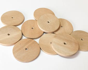 Hambaba Wood disc, 30mm natural wood disc, rondelle spacer, unfinished wood disc-10pc