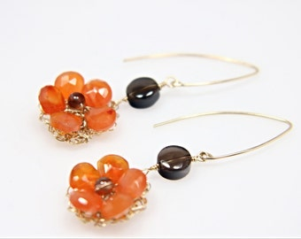 Neon Orange Carnelian flower and smoky quartz gold-filled earrings, beaded flower earrings