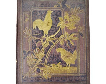Antique Victorian Album Cover, Hen and Baby Chicks Design