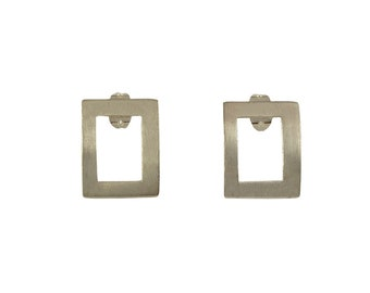 Sterling silver stud, open rectangle earrings, minimal earrings, geometric earrings, silver bar posts, square studs, every day earrings