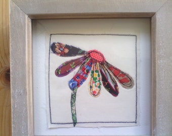 Machine Embroidered Art Textile  Daisy