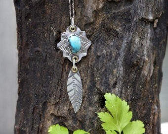 Sterling Turquoise Leaf Necklace. Hand Stamped . Old Turquoise . Rustic . Earthy . Boho .