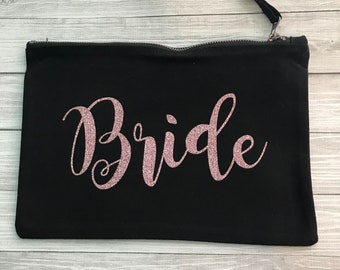 Luxury BRIDE accessory/make up bag with **Rose Gold** glitter //wedding gift present bridesmaid\\