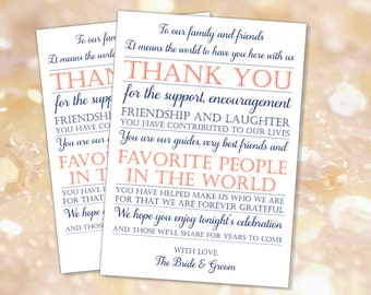Wedding reception Thank you card Navy Coral (INSTANT DOWNLOAD) - To our family and friends - Navy and coral wedding