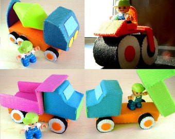 DIY Felt Construction truck set(dump truck,cement mixer,road roller)--PDF Pattern and instructions via Email--C01
