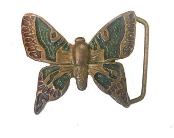Vintage Butterfly Belt Buckle - Brass - Flower - Wings - Monarch - Insect - Wings Monarch - Daisy Girls Ladies - Fathers Day Gift Idea