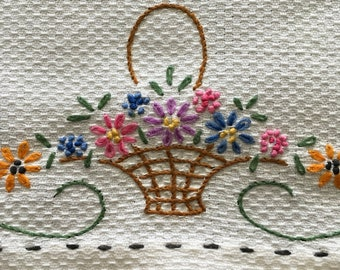 "Vintage Hand Towel Embroidered 16"" x 23"" Tea Towel Hand Towel Kitchen Towel Linen Towel Flower Basket Hand Embroidered"