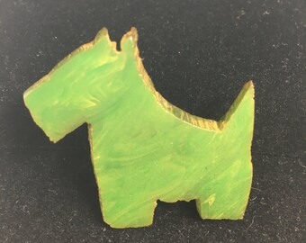 Vintage Bakelite Scottie Pin Marbled Green Dog Brooch 1940's Animal Jewelry