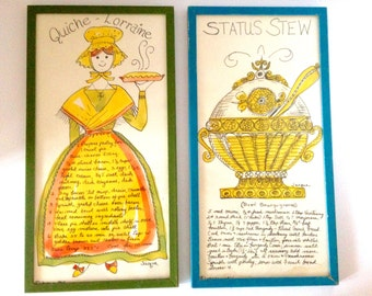 Vintage Two Hand-Painted Prints by Jacque