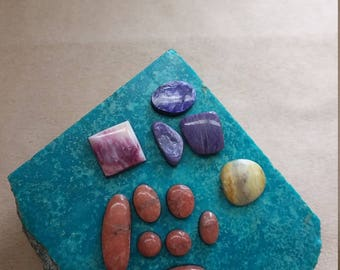 55% OFF Assorted  Cabochons; Ovals & Square/ pink alabaster/ charoite/ shell/ marble/ backed/ seconds