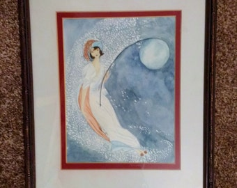 Art Deco style lady holding moon on a pole, stars twinkling behind in the moonlit sky. framed and mounted authentically,