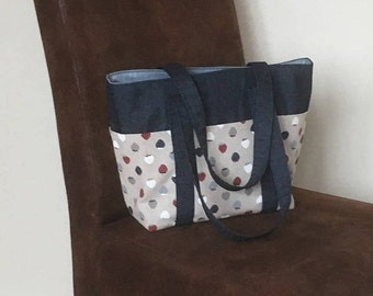 Great tote bag, 6 pocketed bag, blue denim bag, shopping bag, strawberry canvas pockets, shoulder bag, fabric bag, lined bag, organised tote