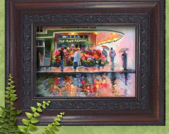 Rainy Seattle Pike Place Flower Market  8 in. x 10 in. or 5 in. x 7 in. Professional Quality Print