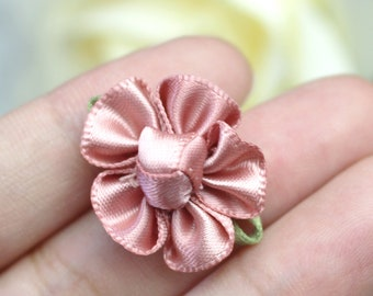 Taupe Satin Flower Appliques Scrapbooking Embellishments DIY Sewing Craft Supplies You choose 5pcs or 10pcs LM560