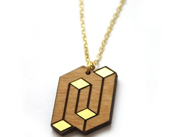 Wooden minimal geometric necklace, opt art inspiration jewelry, graphic elegant modern pendant, gold color, natural wood, made in France