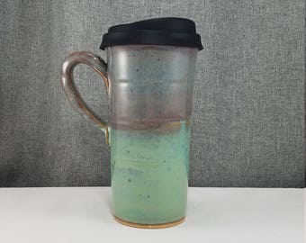 IN STOCK* Ceramic Travel mug / Commuter mug with silicone lid - Teal - Violet