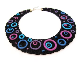 Crochet collar necklace, unique bib necklace, 70's geometric necklace, twiggy style jewelry, sixties style necklace, mermaid lovers gift