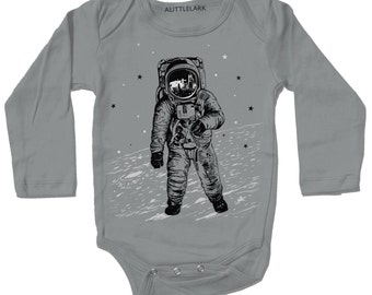 Grey Astronaut Moon Bodysuit - space walk on the moon graphic with white black ink screenprint, rad science one piece for baby boy and girl