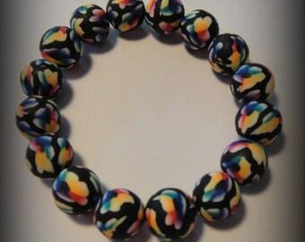 Pearl bracelet, multicolor, flowers