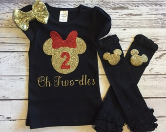 Black and Gold Oh Twodles Minnie Mouse 2nd Birthday Shirt, Toodles Birthday Shirt, Oh Twodles, Minnie Mouse 2nd Birthday Outfit, Photo Prop