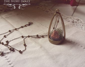OOAK Mori Girl Terrarium Dome Necklace ~ Large Brown Toadstool and Moss ~ Handmade by The Ivory Dolls