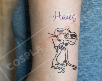 Lady Gaga Haus Mouse Temporary Tattoo Temp Tat Cosplay Costume Ideas Halloween Pop Star Monsters Accurate Elbow Art Black Purple Realistic