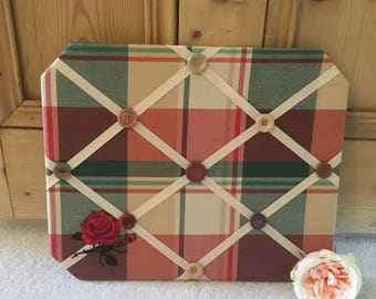 Memo Board with Tartan Print Fabric and Rose & Button Embellishments