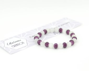 Bracelet mother of pearl beads and purple