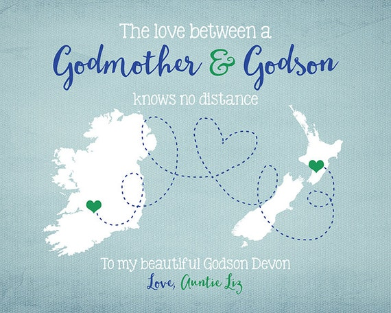Godmother Gift Goddaughter Gift Long Distance Gift: Godson Godmother Long Distance Two Maps Personalized Gift