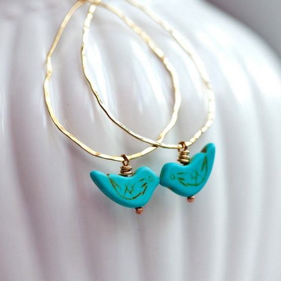 Blue Bird Hammered Hoops - Brass Wire Wrapped Earrings