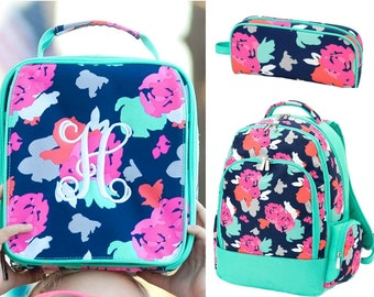 Monogrammed Backpack and Lunch Box Set, Personalized Blooming Cute Back to School for Girls, Lunch Bag and Pencil Case, Floral Book Bag Se