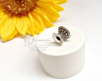 Silver charm s925 thai silver diy torus S925 silver crafted flower torus bead caps 2242985