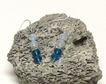 Blue and Opal Crystal Earrings