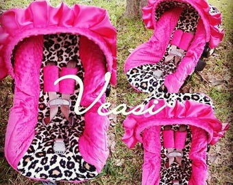 Hot pink and cheetah infant carseat cover