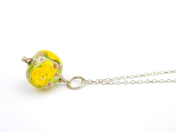 Art Glass Pendant - Medium Yellow Art Glass Bead Sterling Silver Pendant - Classic Collection
