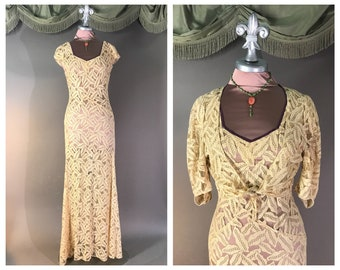 Vintage 30s dress 1930s Wonderful DECO LEAVES LACE 2pc formal party wedding evening gown dress