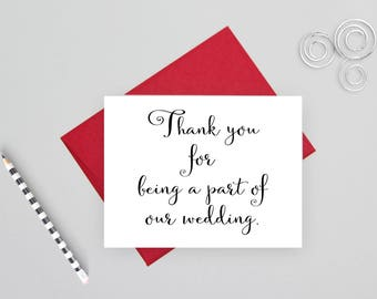 Thank you for being a part of our wedding, wedding stationery, wedding thank you, folded wedding cards, wedding note cards, wedding card