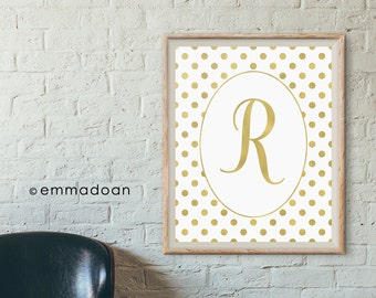 Personalized Baby Gold Foil Monogram Print, Gold Nursery Art Print, Gold Monogram Printable, Nursery Printable, Customized Baby Name Print