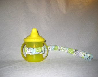 Sippy Cup Strap Baby Blue, Lime & Lavender Floral on White - Ready to Ship