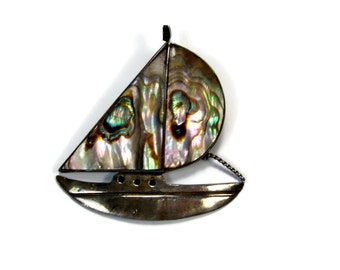 Sterling Silver Abalone Sailboat Brooch, Made in Mexico, Vintage Jewelry, 925 Silver, Sterling Pin, Estate Jewelry