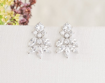 Crystal Bridal Earrings, Wedding Stud Earrings, Leaf Studs, Bridal Earrings, Rose Gold Wedding Earrings, Marquise Earrings, Bridesmaid, ZOEY