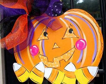 Halloween Door Hanger, Pumpkin Door Hanger, Jack o lantern Door Decoration, Halloween Home Decor, Halloween Wreath, Halloween Pumpkin