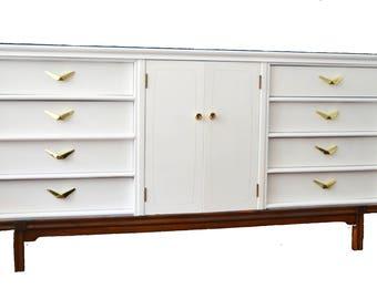 SOLD ***** Mid Century White Dresser  - refinished