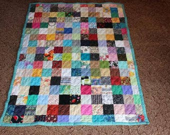 Twin Size Scrappy Patchwork Quilt - Custom Made to Order