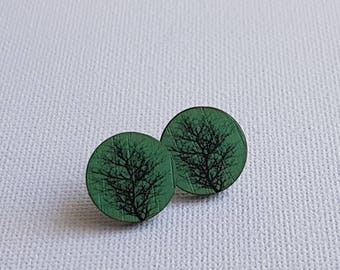 Wooden stud earrings - green - winter autumn branch tree, quirky fun modern studs