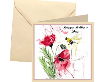 Bee Mothers day card, blank card, Poppy mothers day card, Mothers day card, Mothers day, red poppy, bee