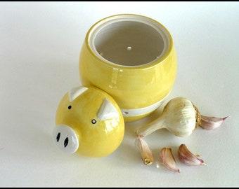 Ceramic Garlic Pot, Garlic Jar, Ceramic Garlic Jar, Pig Garlic Pot, Garlic Keeper, Shallot Pot, Cooks Gift, Garlic Storage, Teacher Gift