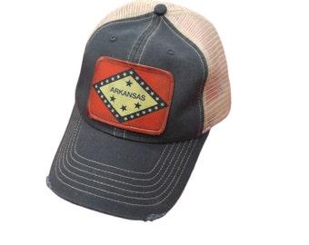Arkansas Flag Distressed Snapback Trucker Cap